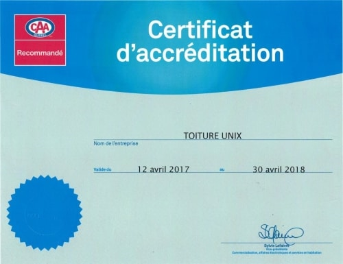 Toiture Unix Certificat CAA
