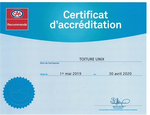 Certification CAA Quebec 2018 de Toiture Unix